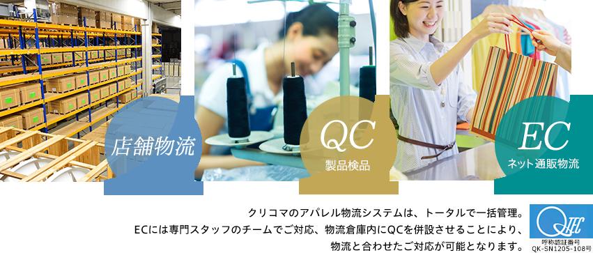 店舗物流 QC製品検品 ECネット通販物流 クリコマのアパレル物流システムは、トータルで一括管理。ECには専門スタッフのチームでご対応、物流倉庫内にQCを併設させることにより、物流と合わせたご対応が可能となります。